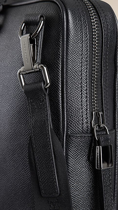 Black London Leather Crossbody Briefcase - Image 7