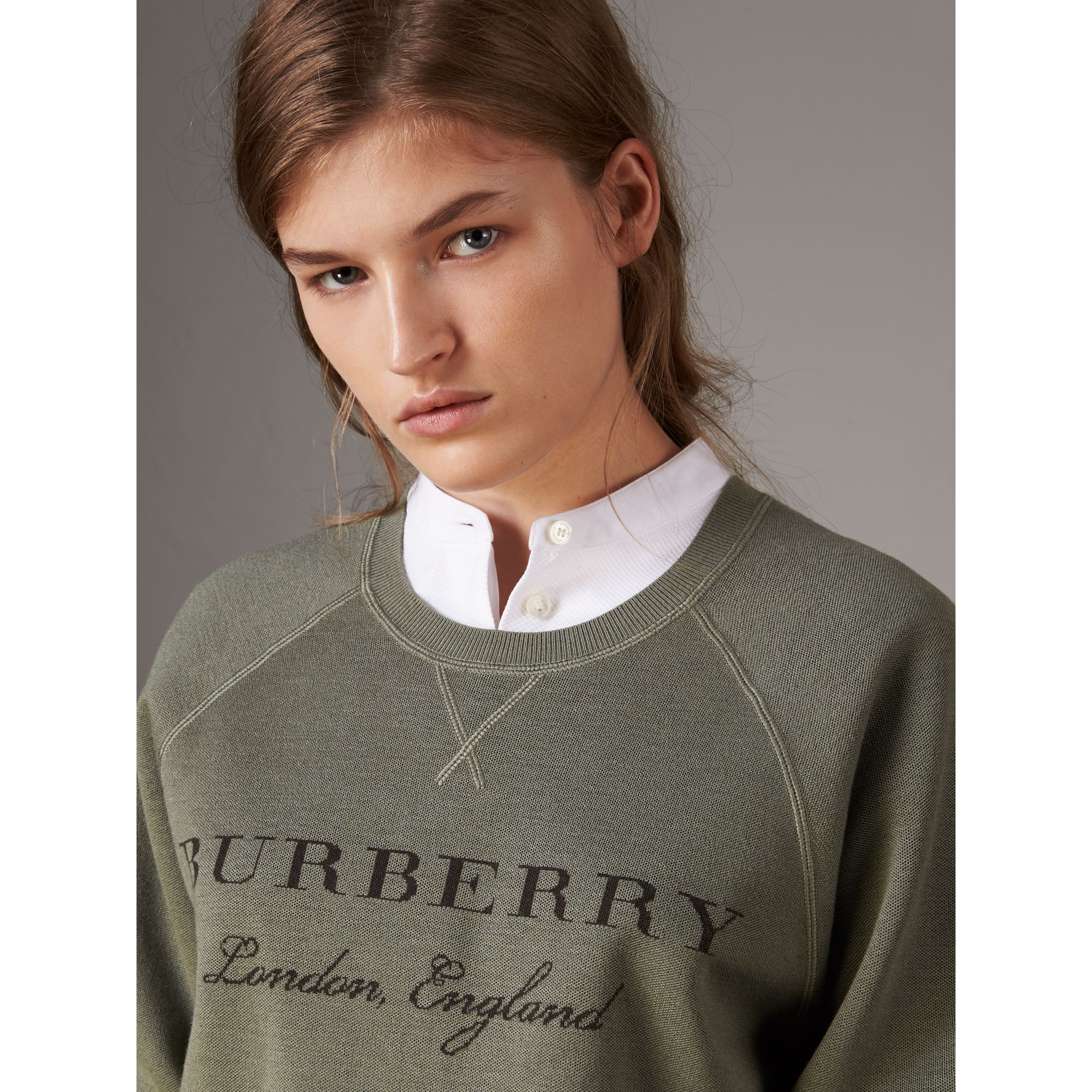 Lightweight Merino Wool Silk Sweater in Aqua Green - Women | Burberry - gallery image 2