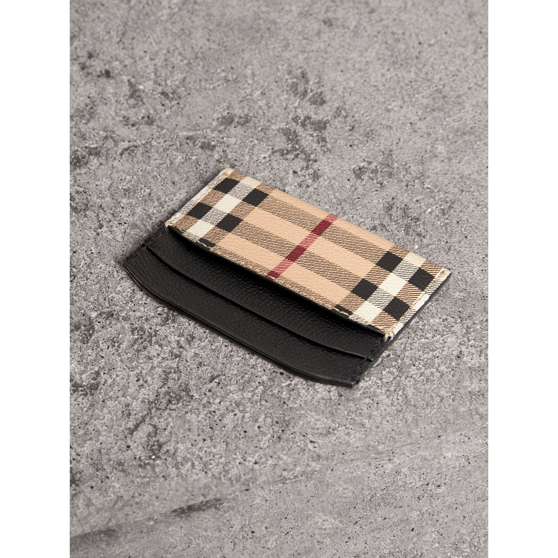 Haymarket Check and Leather Card Case in Black - Women | Burberry - gallery image 2