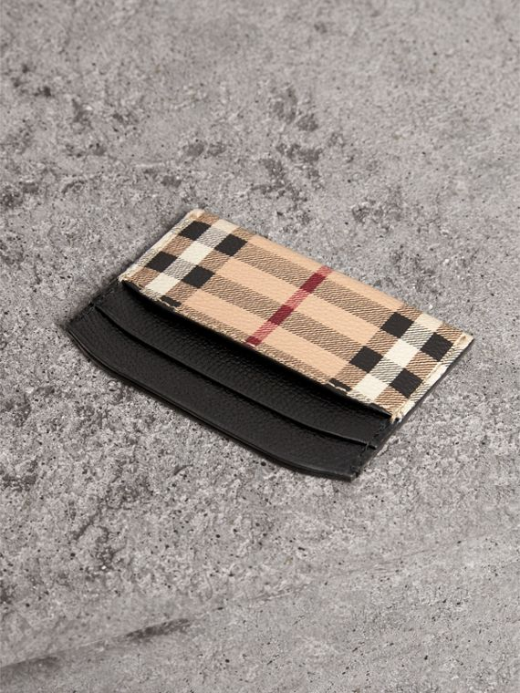 Haymarket Check and Leather Card Case in Black | Burberry - cell image 2