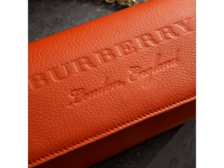 Embossed Leather Wallet with Chain in Dark Clementine - Women | Burberry United Kingdom - cell image 1