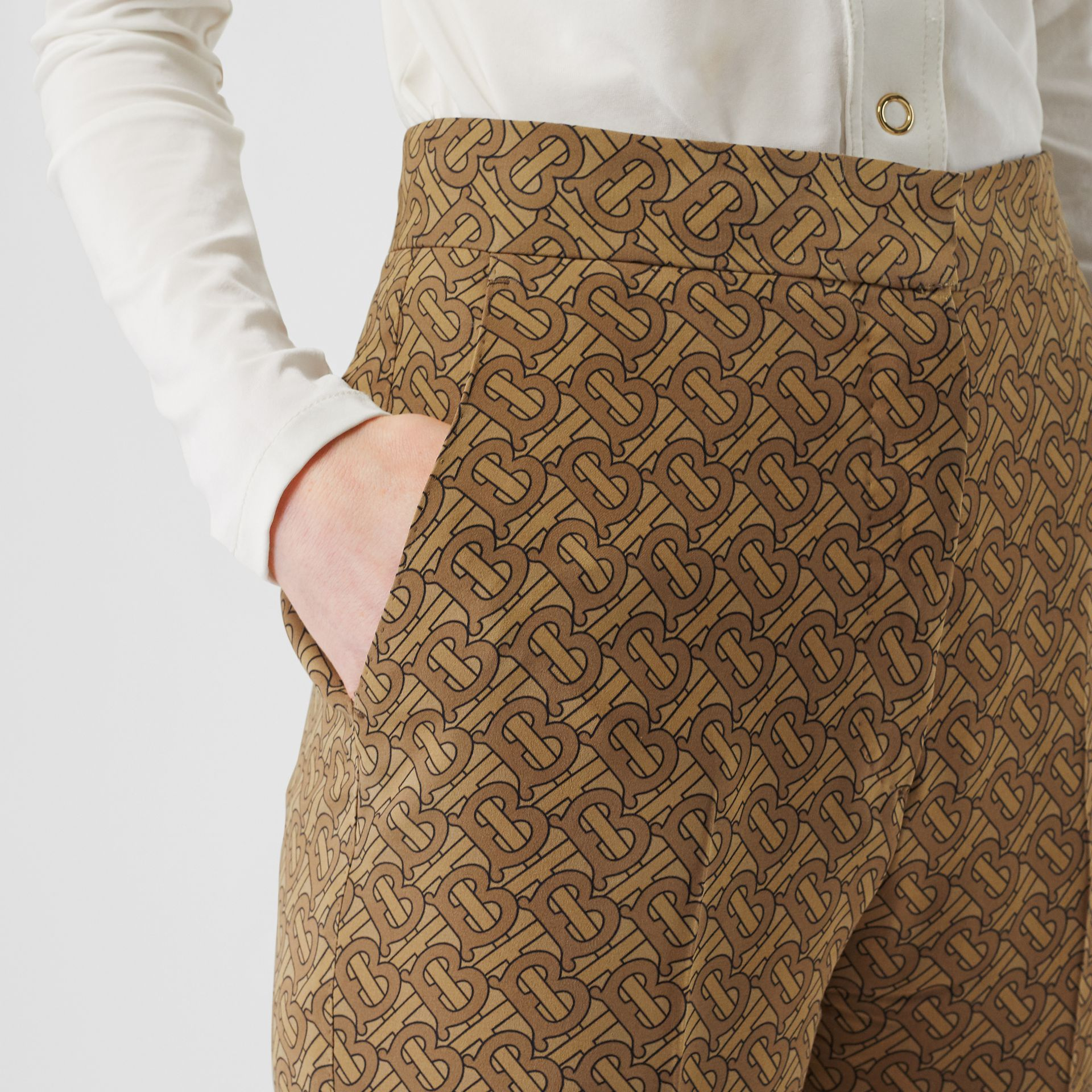 Monogram Print Silk Tailored Trousers in Tawny - Women | Burberry - gallery image 1