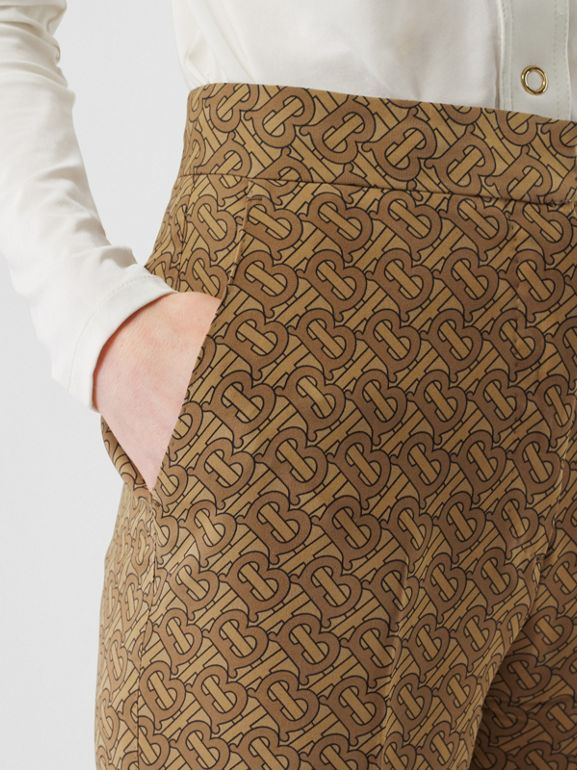 Monogram Print Silk Tailored Trousers in Tawny - Women | Burberry Singapore - cell image 1