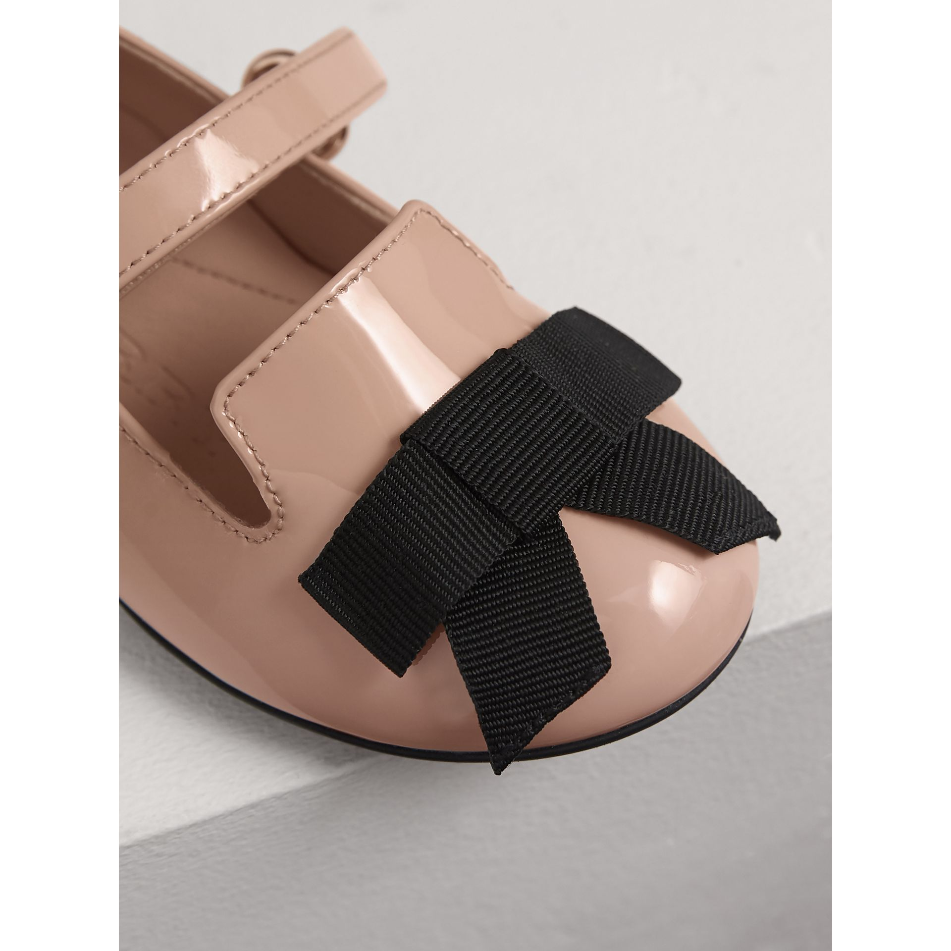 Bow Detail Patent Leather Ballerinas in Apricot Pink | Burberry Australia - gallery image 1