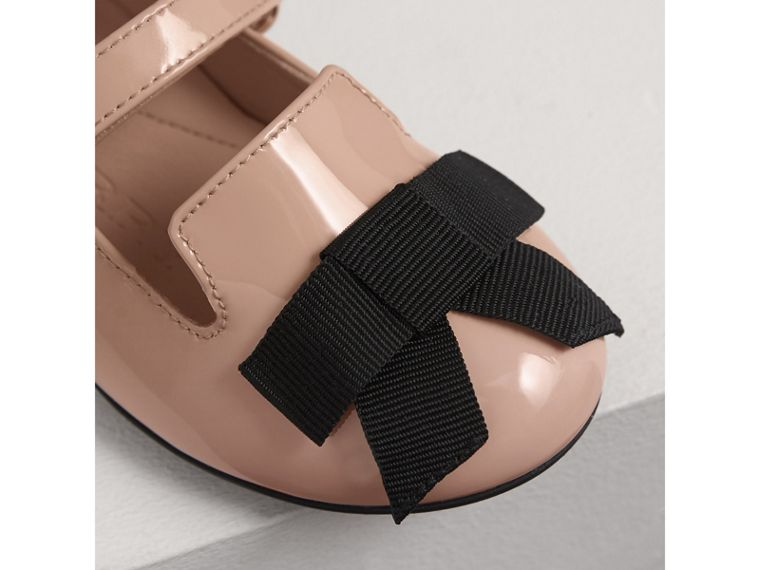 Bow Detail Patent Leather Ballerinas in Apricot Pink | Burberry Australia - cell image 1
