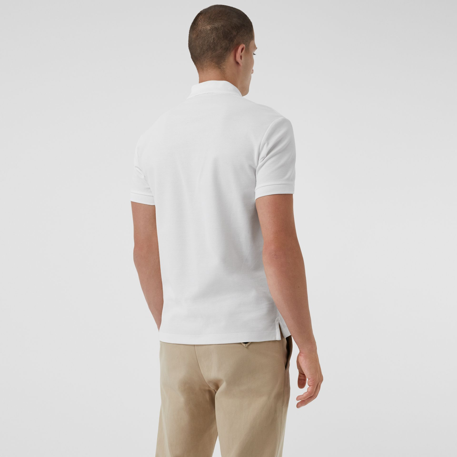 Archive Logo Cotton Piqué Polo Shirt in White - Men | Burberry United Kingdom - gallery image 2