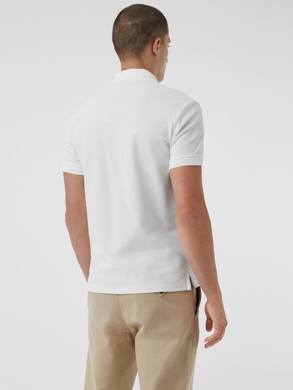 Archive Logo Cotton Piqué Polo Shirt in White - Men | Burberry United Kingdom - cell image 2