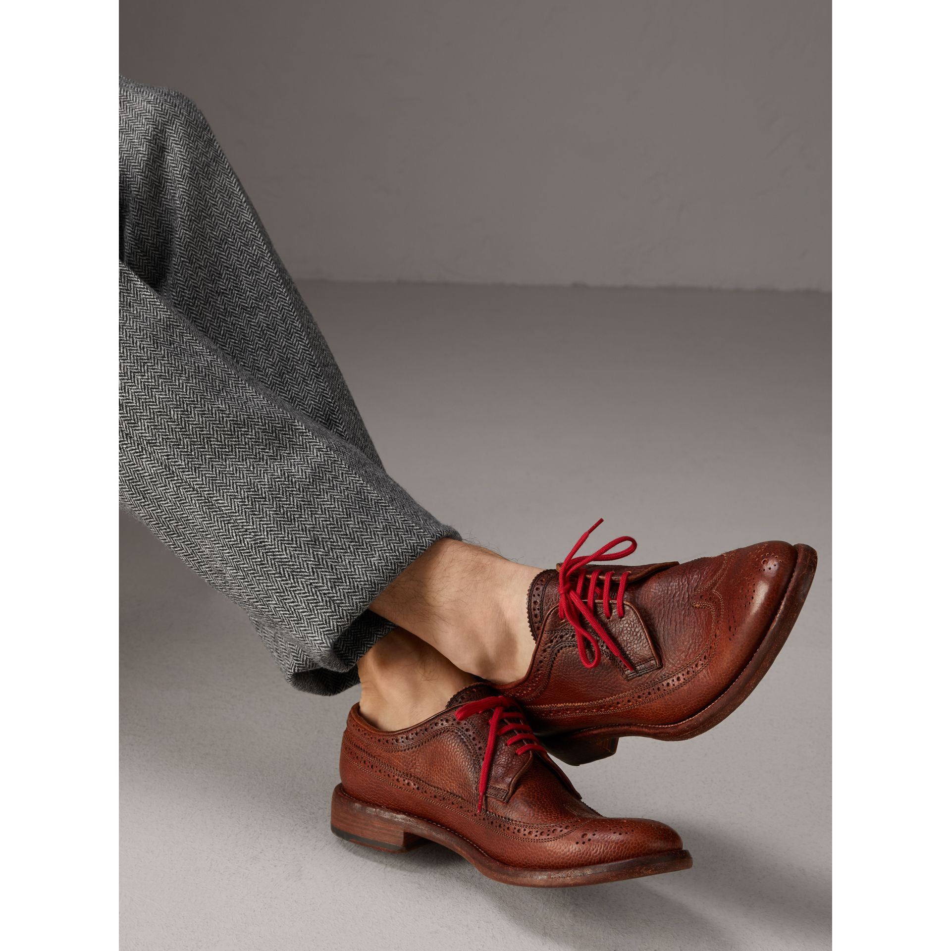 Grainy Leather Brogues with Bright Laces in Vintage Chestnut - Men | Burberry - gallery image 2
