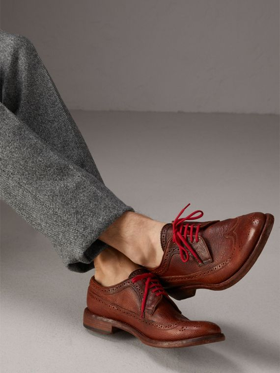 Grainy Leather Brogues with Bright Laces in Vintage Chestnut - Men | Burberry Canada - cell image 2