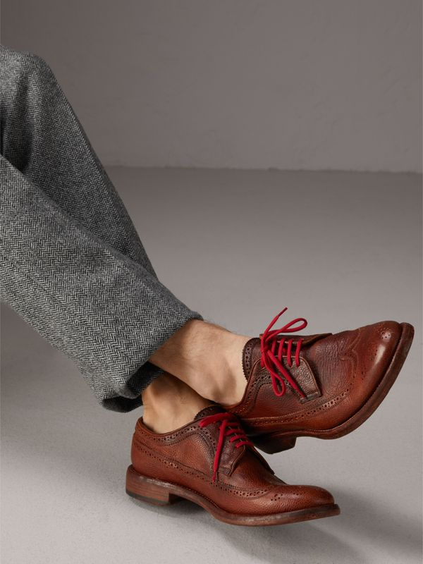 Grainy Leather Brogues with Bright Laces in Vintage Chestnut - Men | Burberry United Kingdom - cell image 2
