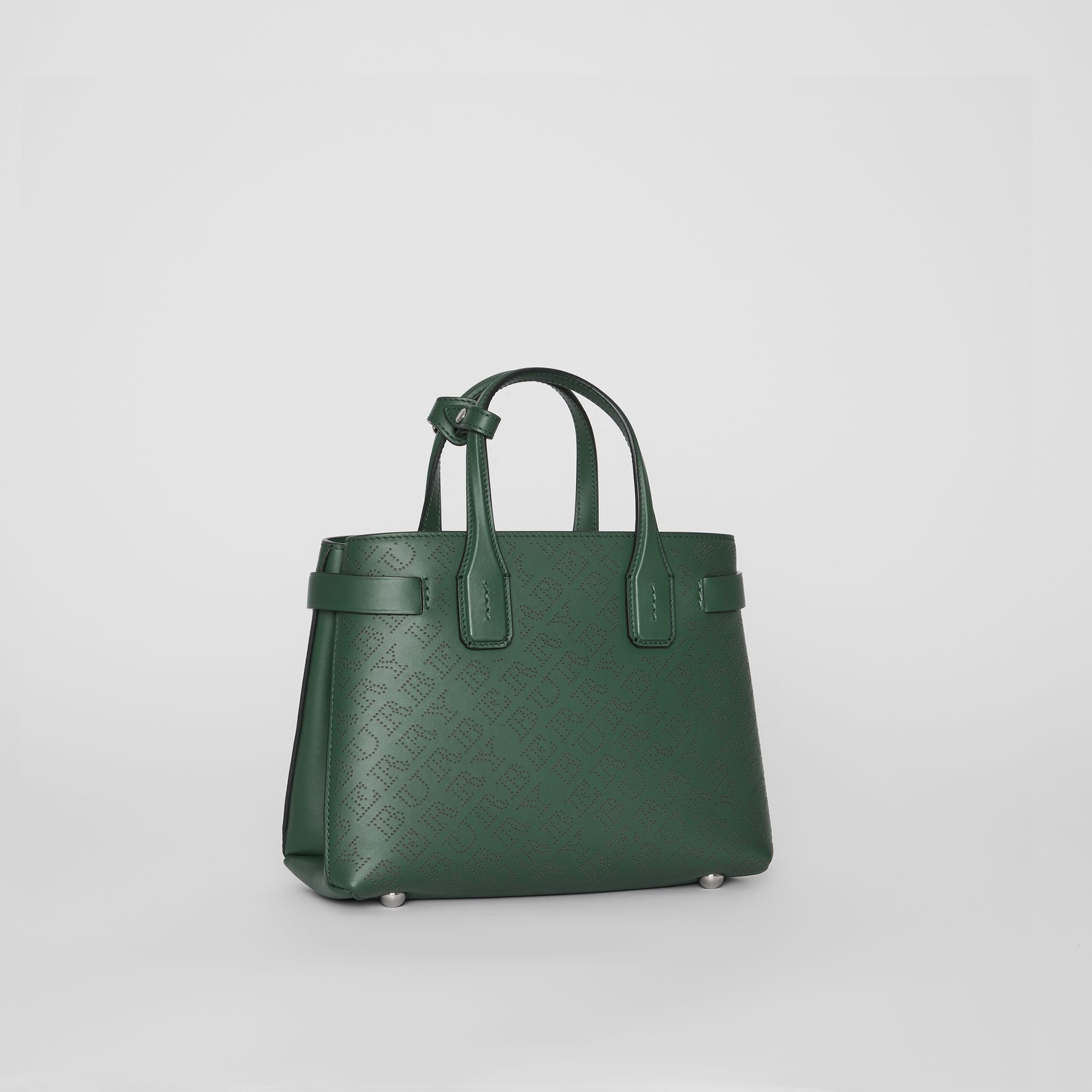 The Small Banner in Perforated Logo Leather in Vintage Green - Women | Burberry United Kingdom - gallery image 6