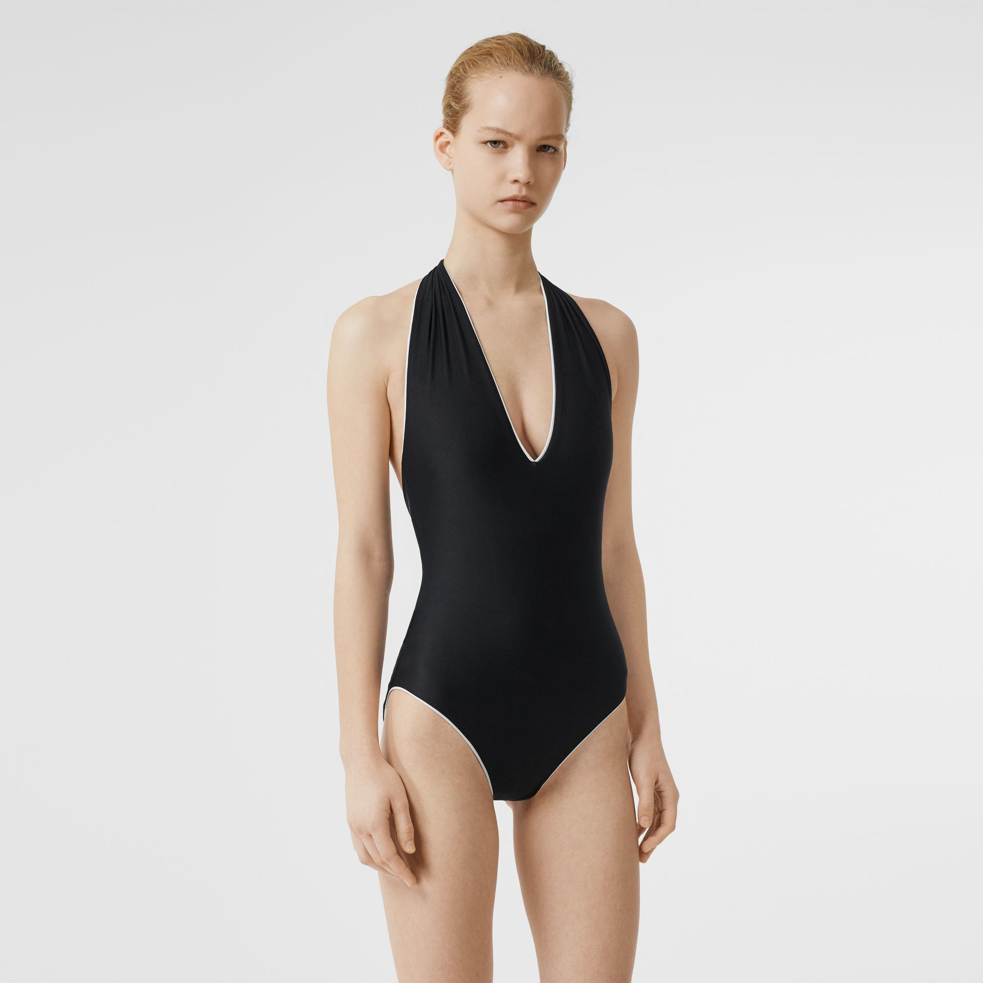 Piping Detail Halterneck Swimsuit in Black - Women | Burberry - gallery image 0