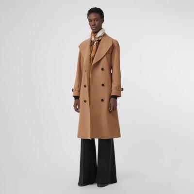 Herringbone Wool Cashmere Blend Trench Coat by Burberry