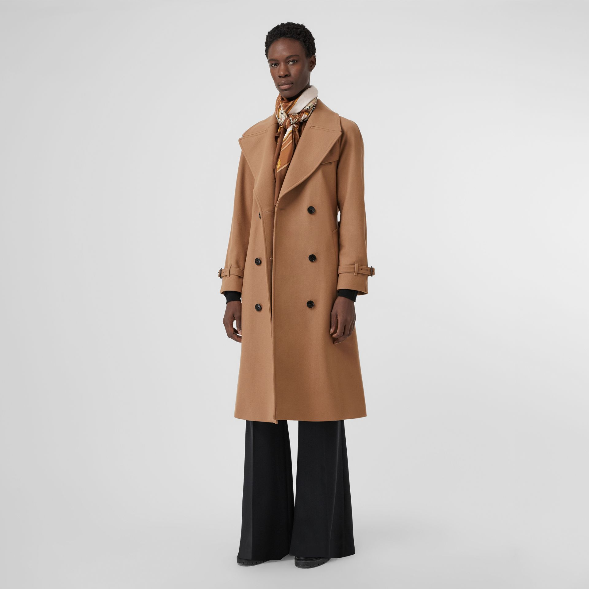 Herringbone Wool Cashmere Blend Trench Coat in Camel - Women | Burberry United Kingdom - gallery image 0