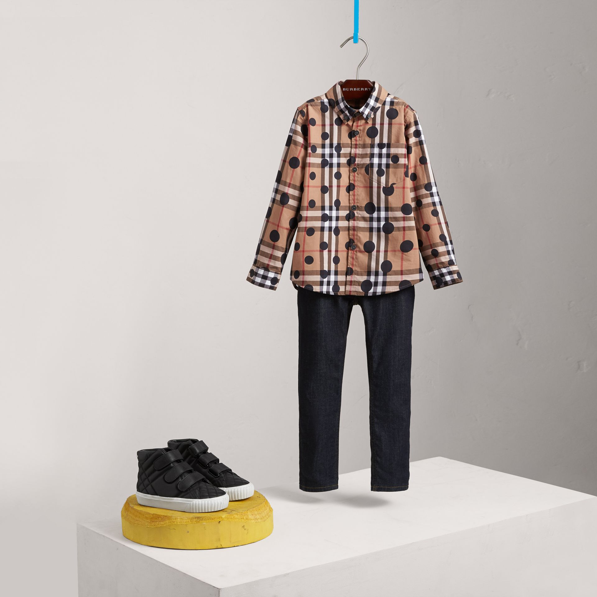 Polka-dot Check Cotton Shirt in Navy - Boy | Burberry United Kingdom - gallery image 0