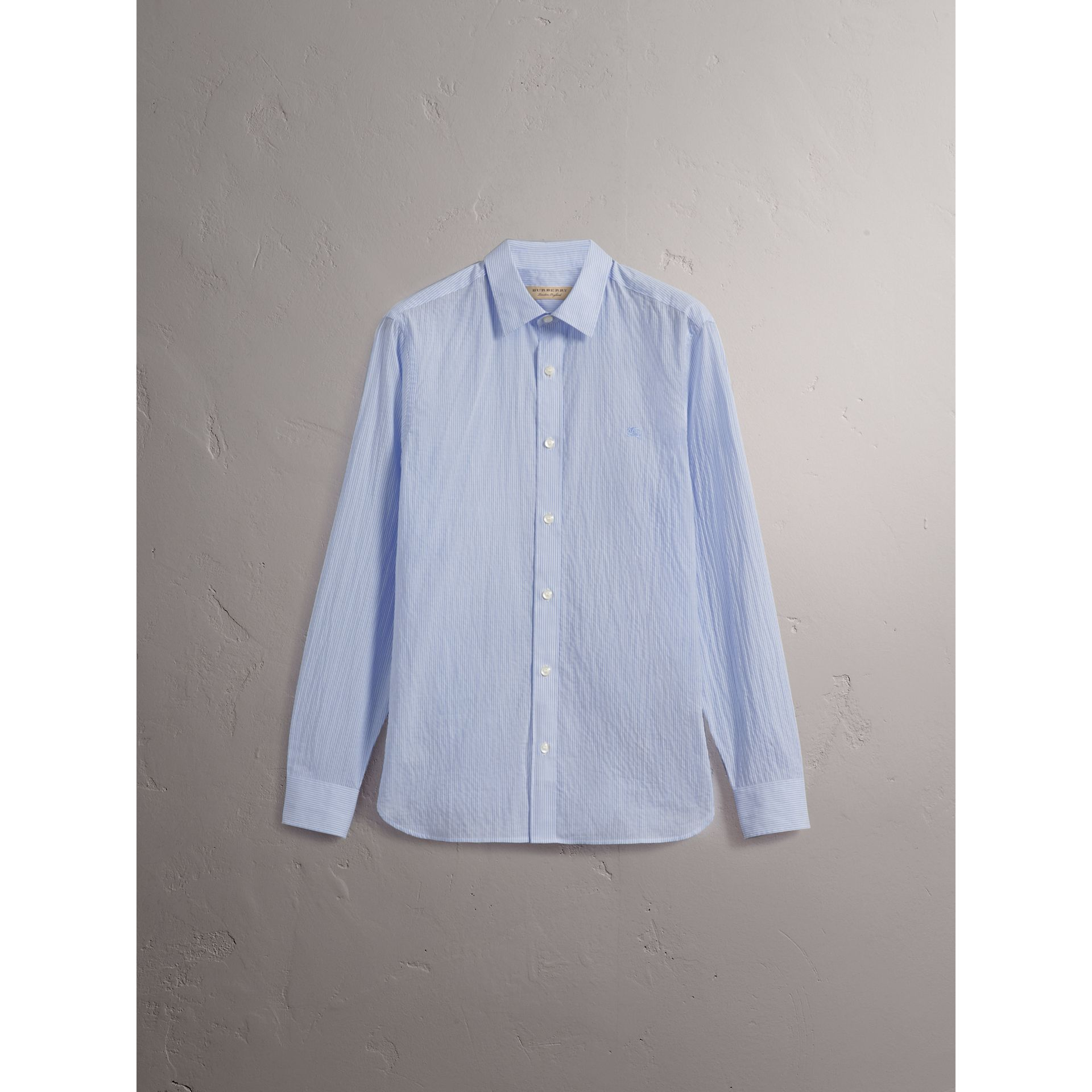 Striped Cotton Blend Shirt in Light Blue - Men | Burberry - gallery image 4