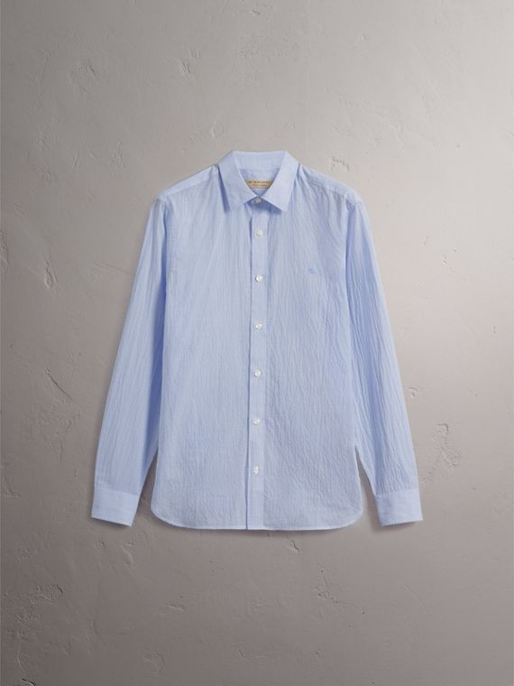 Striped Cotton Blend Shirt in Light Blue - Men | Burberry - cell image 3