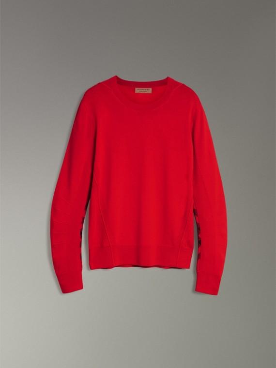Jersey en lana de merino con detalles a cuadros (Cobalto Oscuro) - Hombre | Burberry - cell image 3