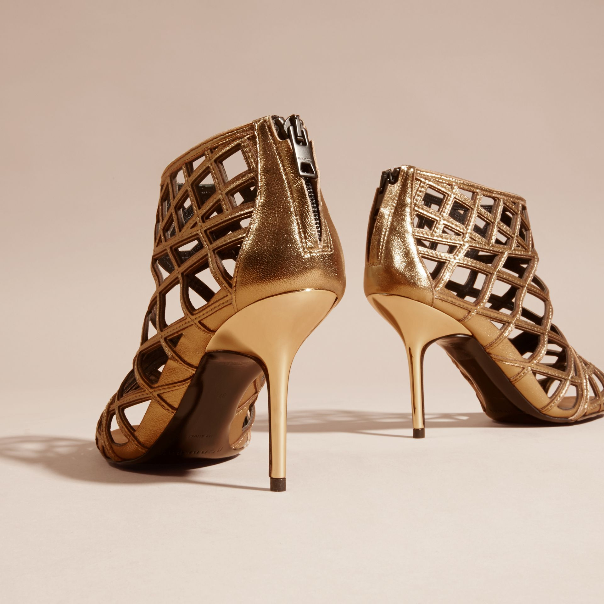 Heritage gold Cut-out Leather Ankle Boots - gallery image 4