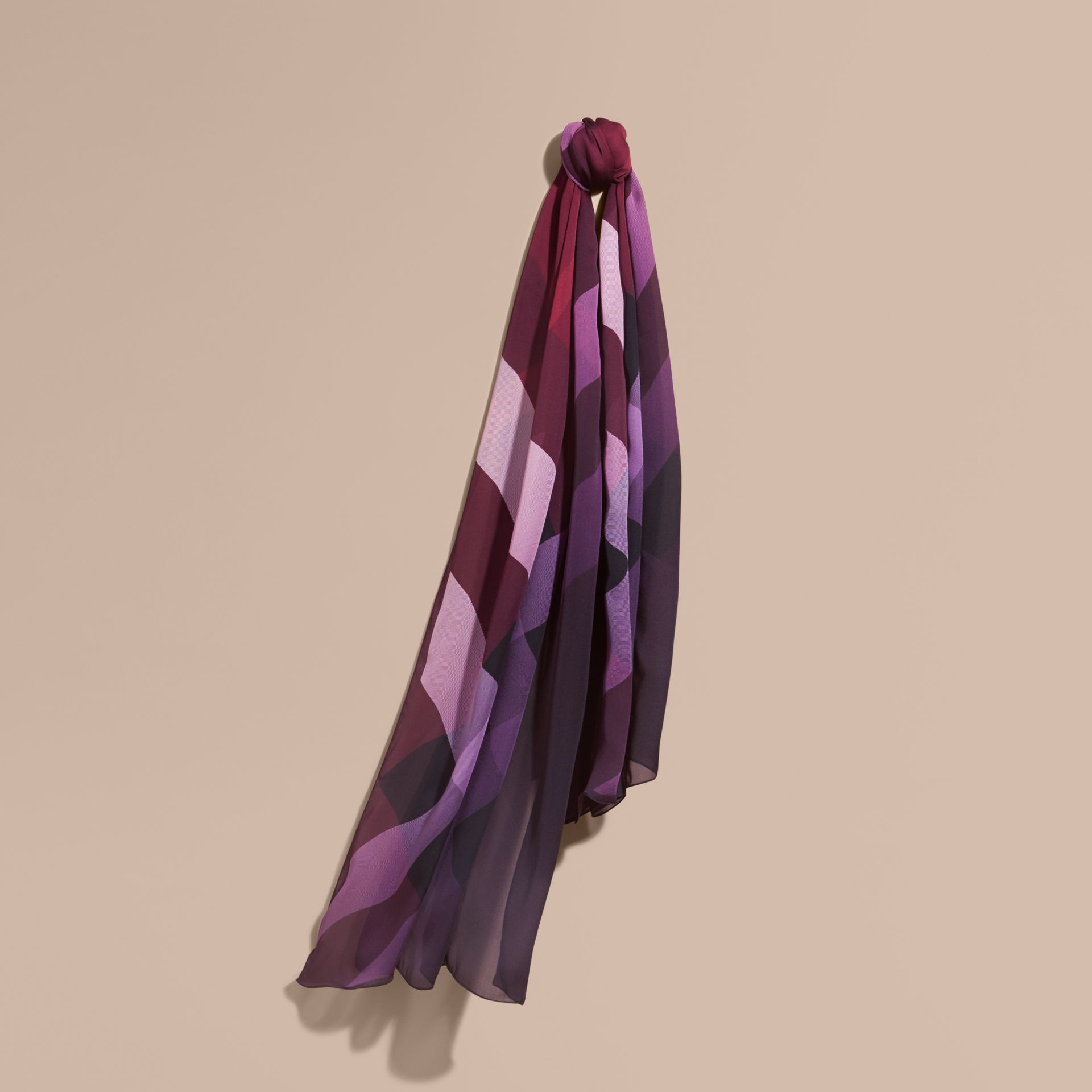 Ombré Washed Check Silk Scarf Plum - gallery image 1