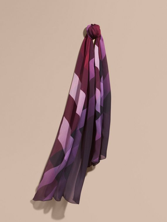 Ombré Washed Check Silk Scarf in Plum - Women | Burberry