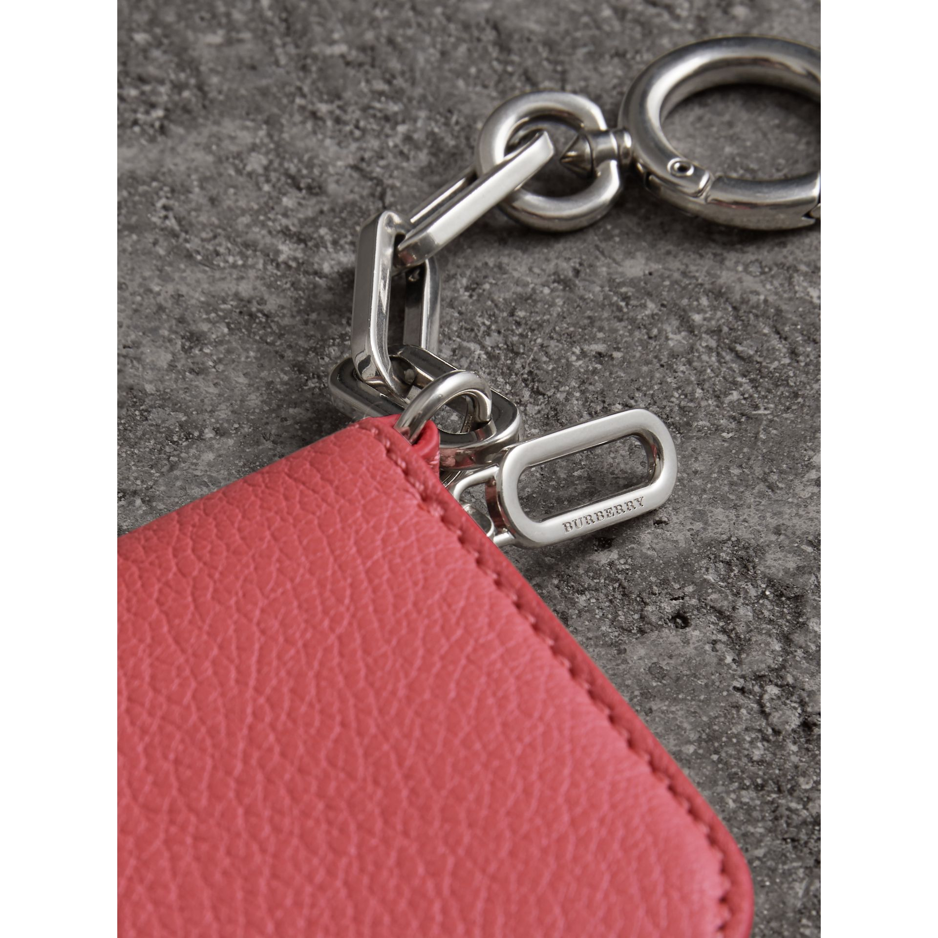 Link Detail Leather Ziparound Wallet in Bright Coral Pink - Women | Burberry - gallery image 1