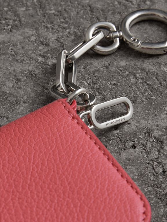 Link Detail Leather Ziparound Wallet in Bright Coral Pink - Women | Burberry - cell image 1