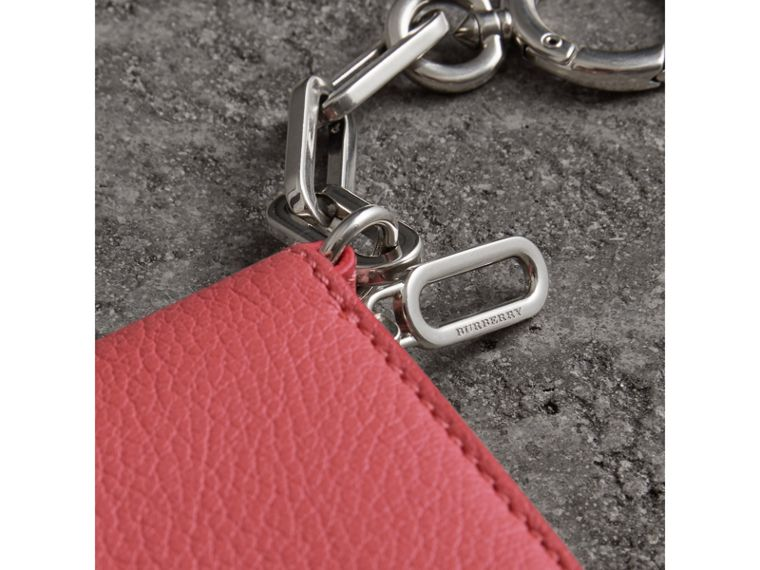 Link Detail Leather Ziparound Wallet in Bright Coral Pink - Women | Burberry Singapore - cell image 1