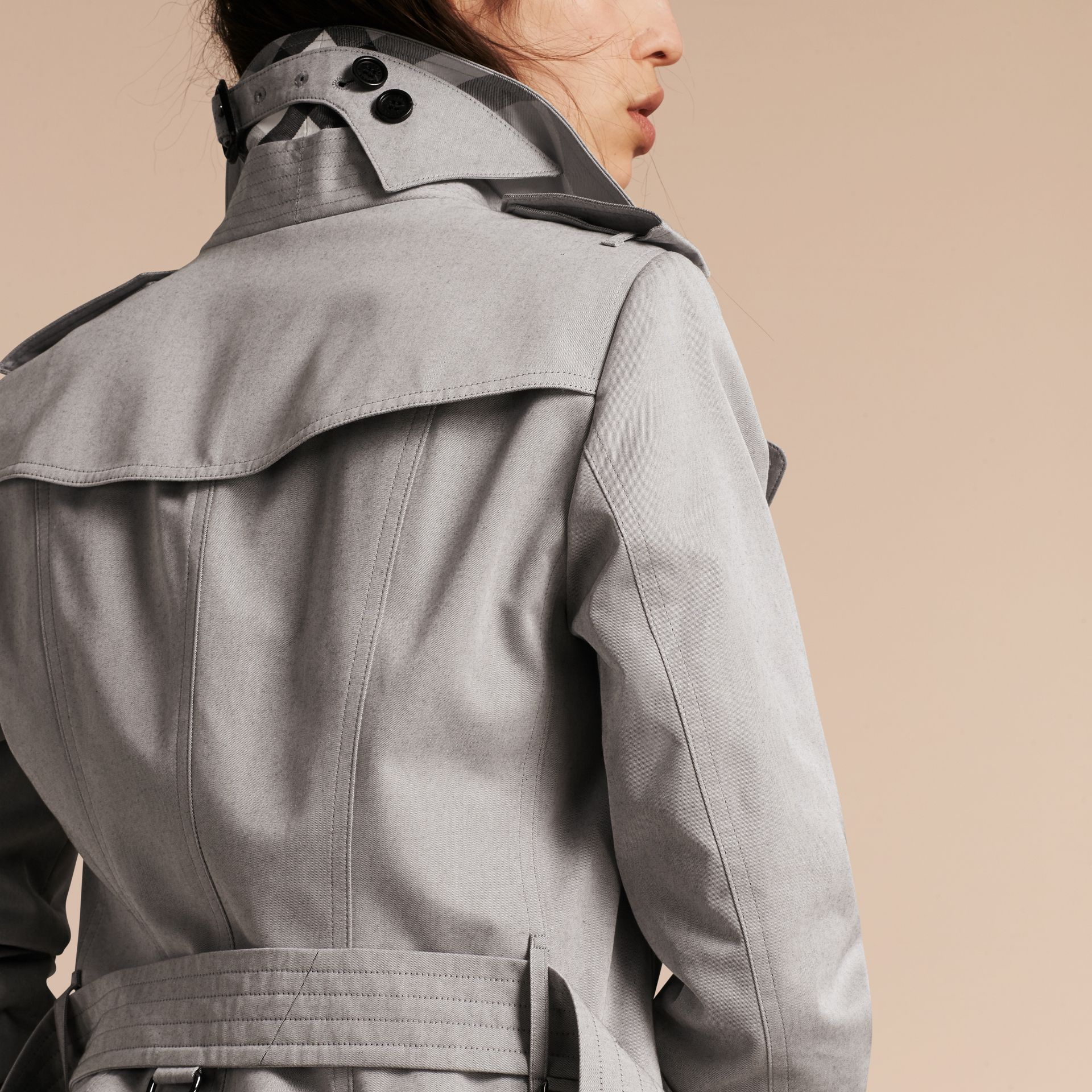 Cotton Gabardine Trench Coat Light Grey Melange - gallery image 5