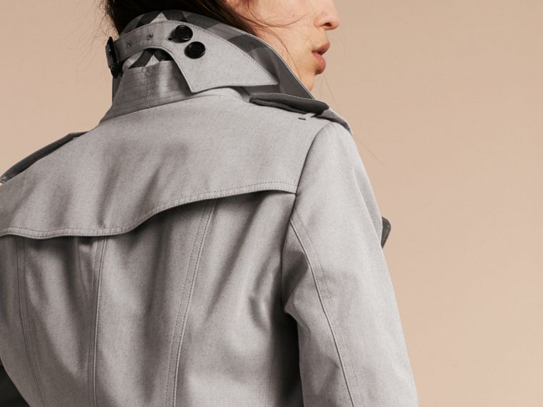 Cotton Gabardine Trench Coat Light Grey Melange - cell image 4
