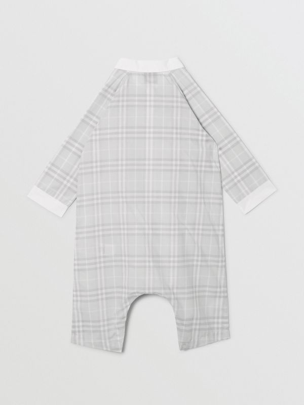 Bib Detail Check Cotton Jumpsuit in Pale Grey - Children | Burberry - cell image 2