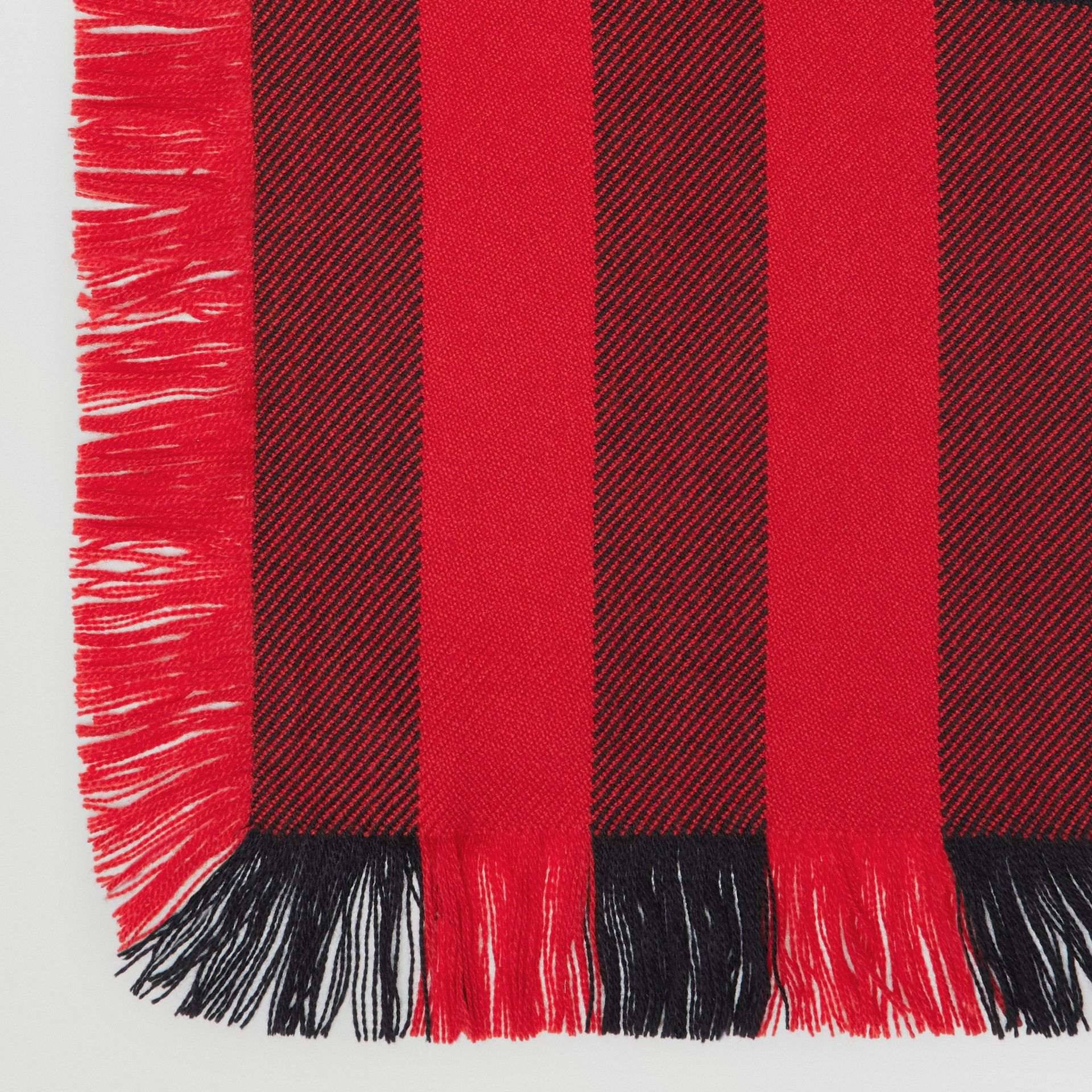 Fringed Check Wool Scarf in Military Red | Burberry - gallery image 1