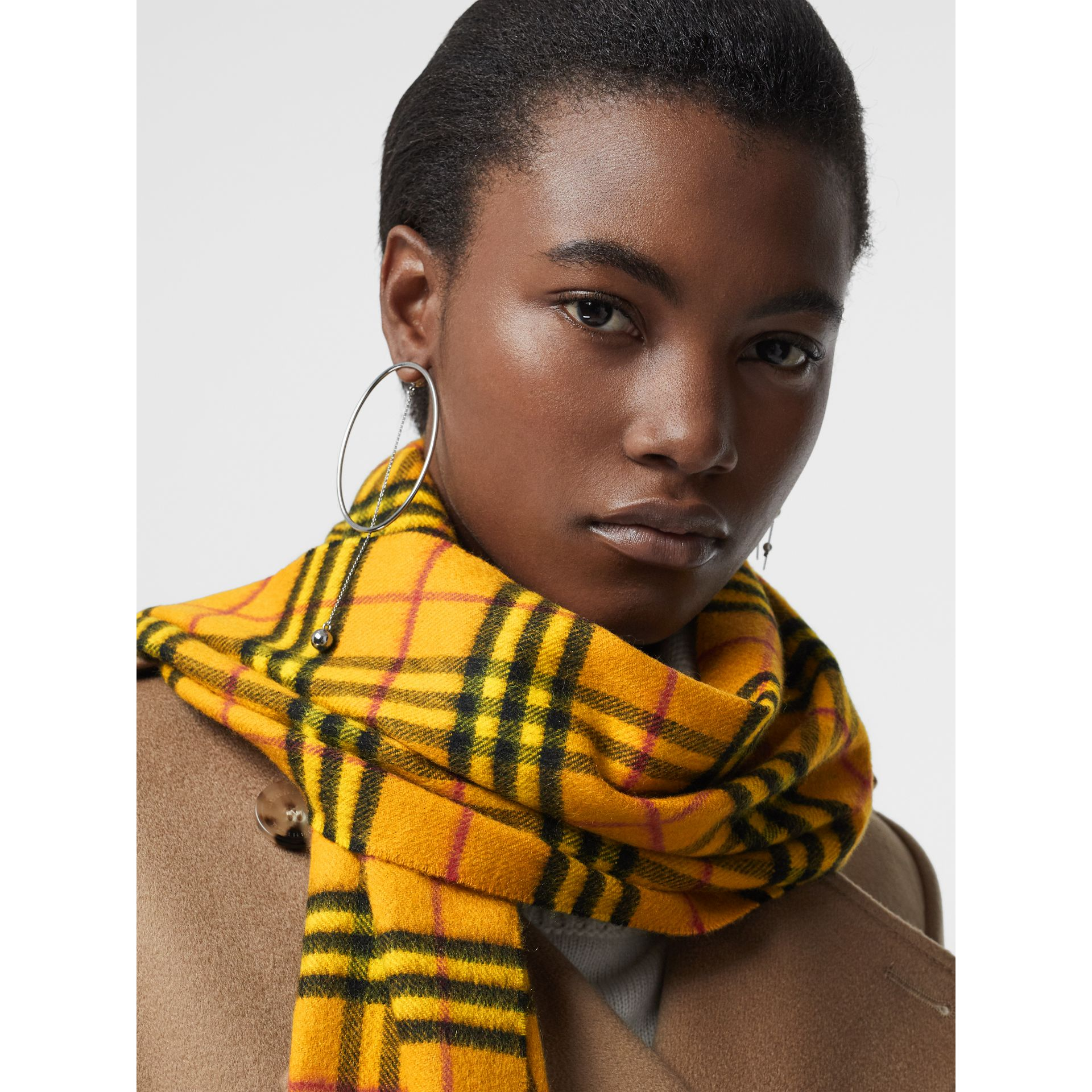 The Classic Vintage Check Cashmere Scarf in Vibrant Yellow | Burberry - gallery image 5