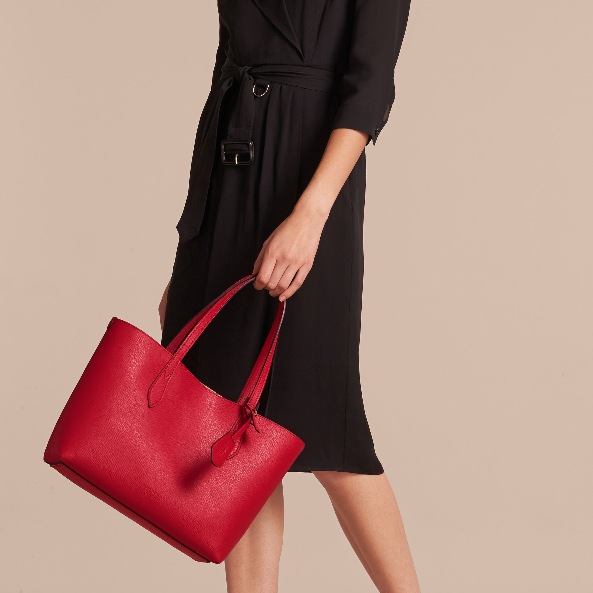 The Small Reversible Tote in Haymarket Check and Leather Poppy Red - gallery image 3