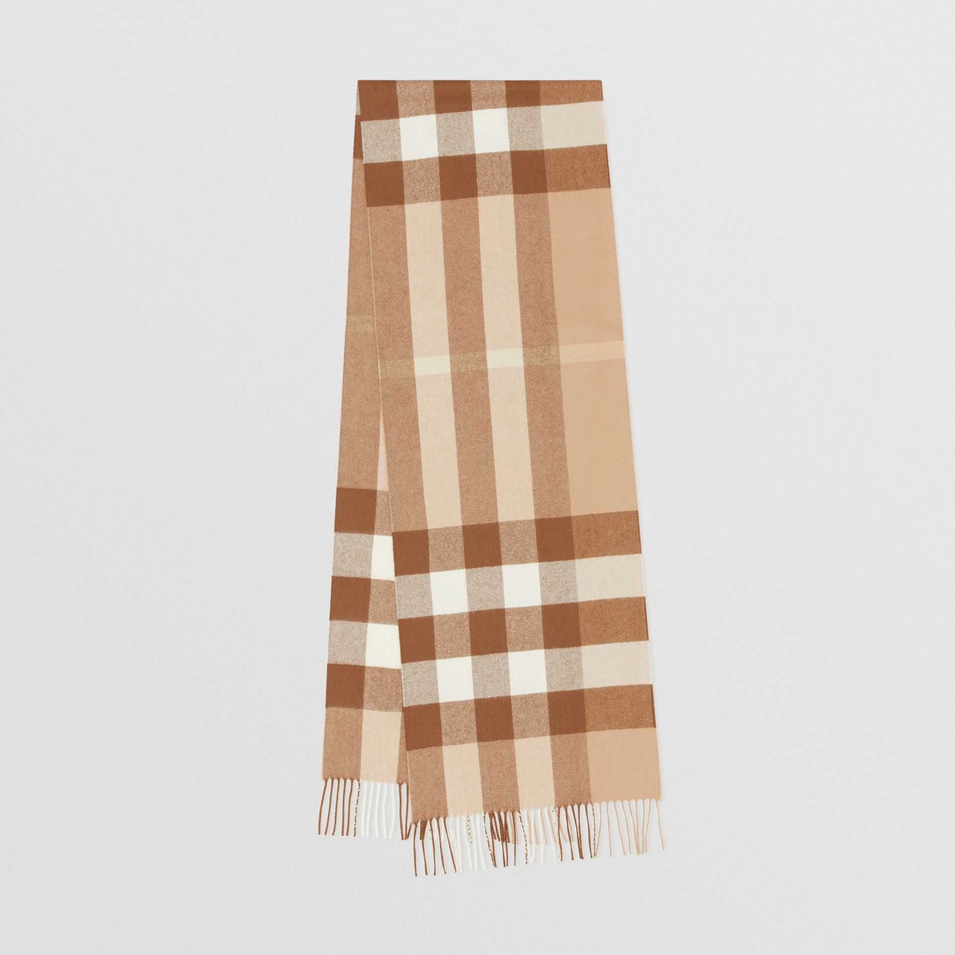 Check Cashmere Scarf in Mid Camel | Burberry United Kingdom - gallery image 0
