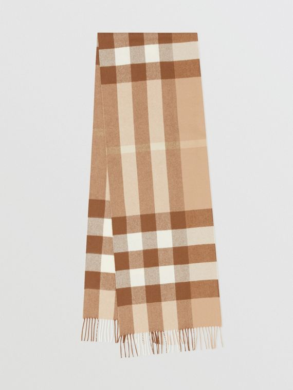 Check Cashmere Scarf in Mid Camel