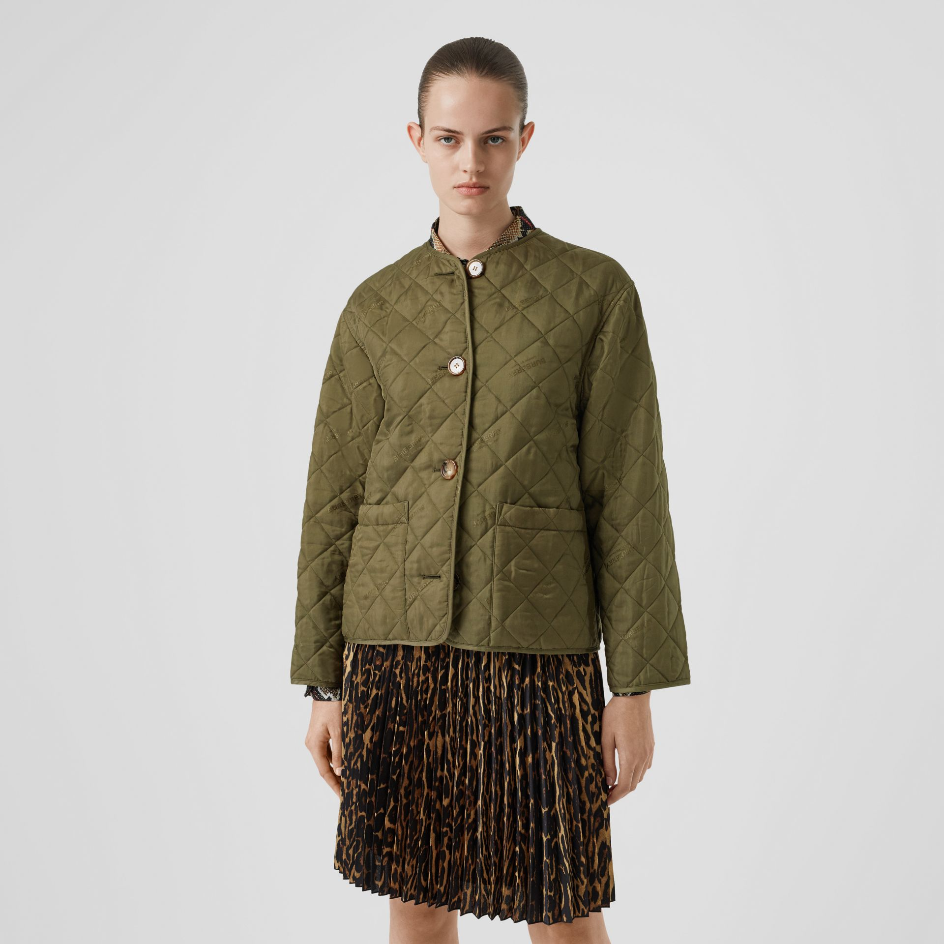 Logo Jacquard Diamond Quilted Jacket in Olive - Women | Burberry - gallery image 5