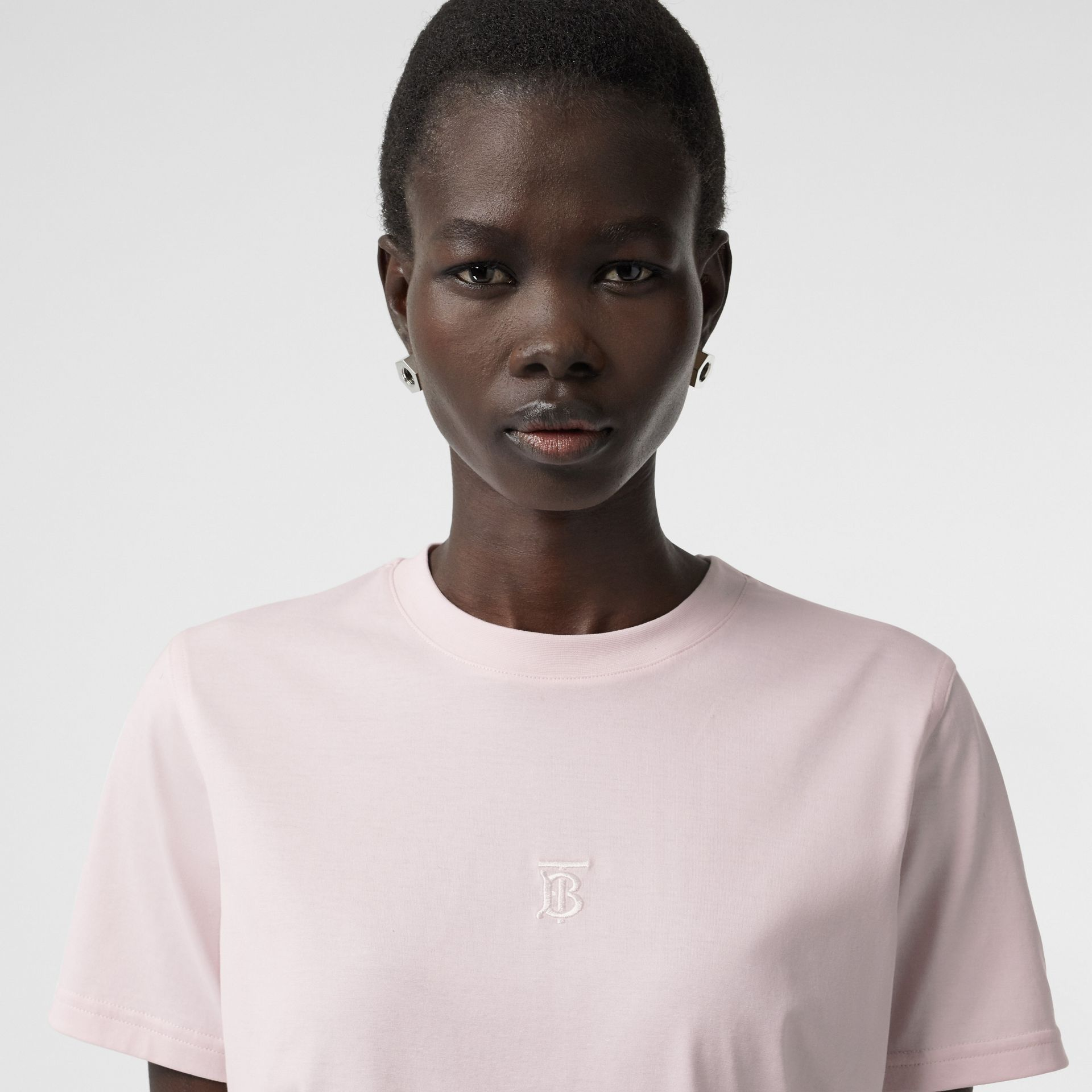 Monogram Motif Cotton T-shirt in Alabaster Pink - Women | Burberry - gallery image 1