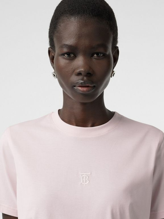 Monogram Motif Cotton T-shirt in Alabaster Pink - Women | Burberry - cell image 1