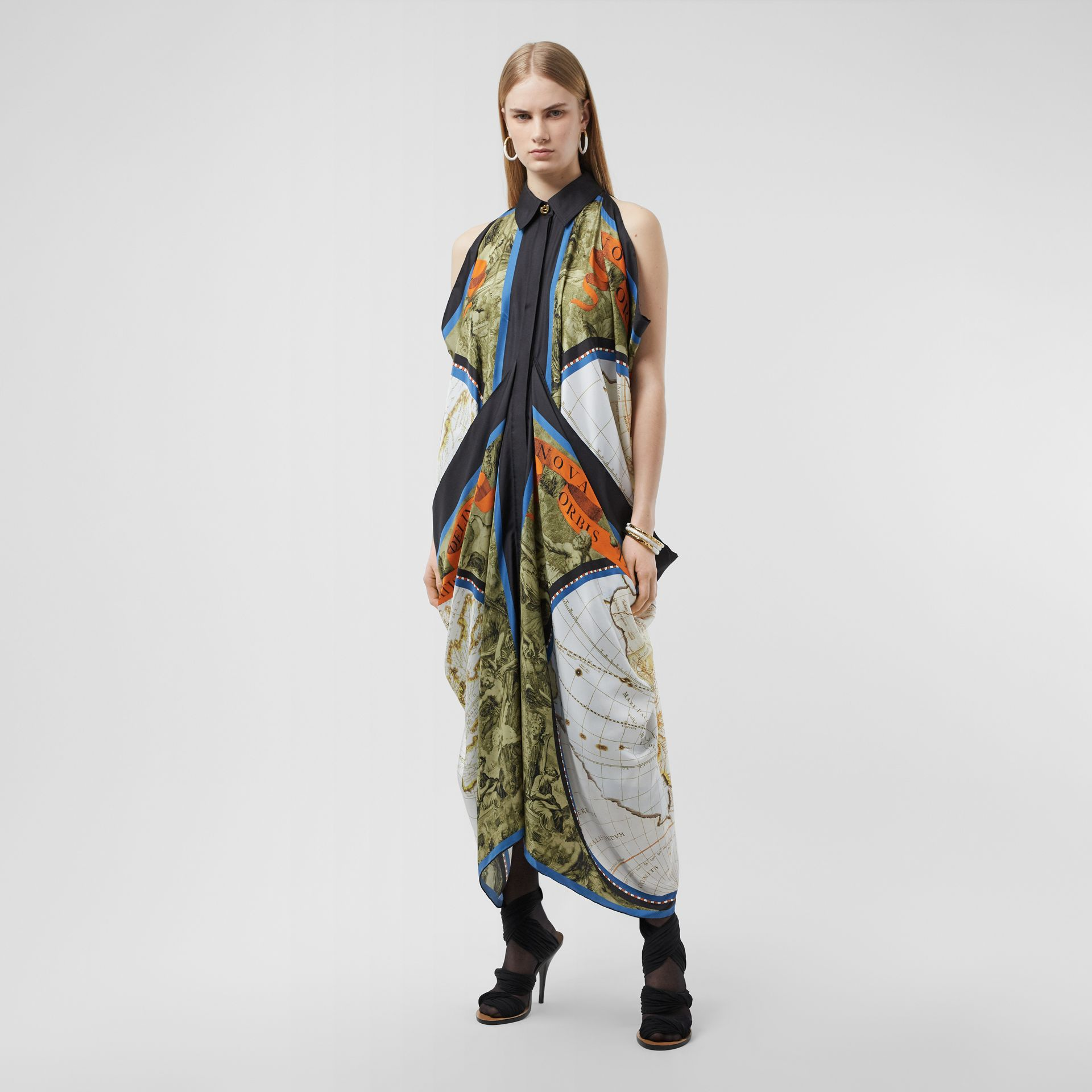 Map Print Draped Silk Dress in Antique Green | Burberry - gallery image 0