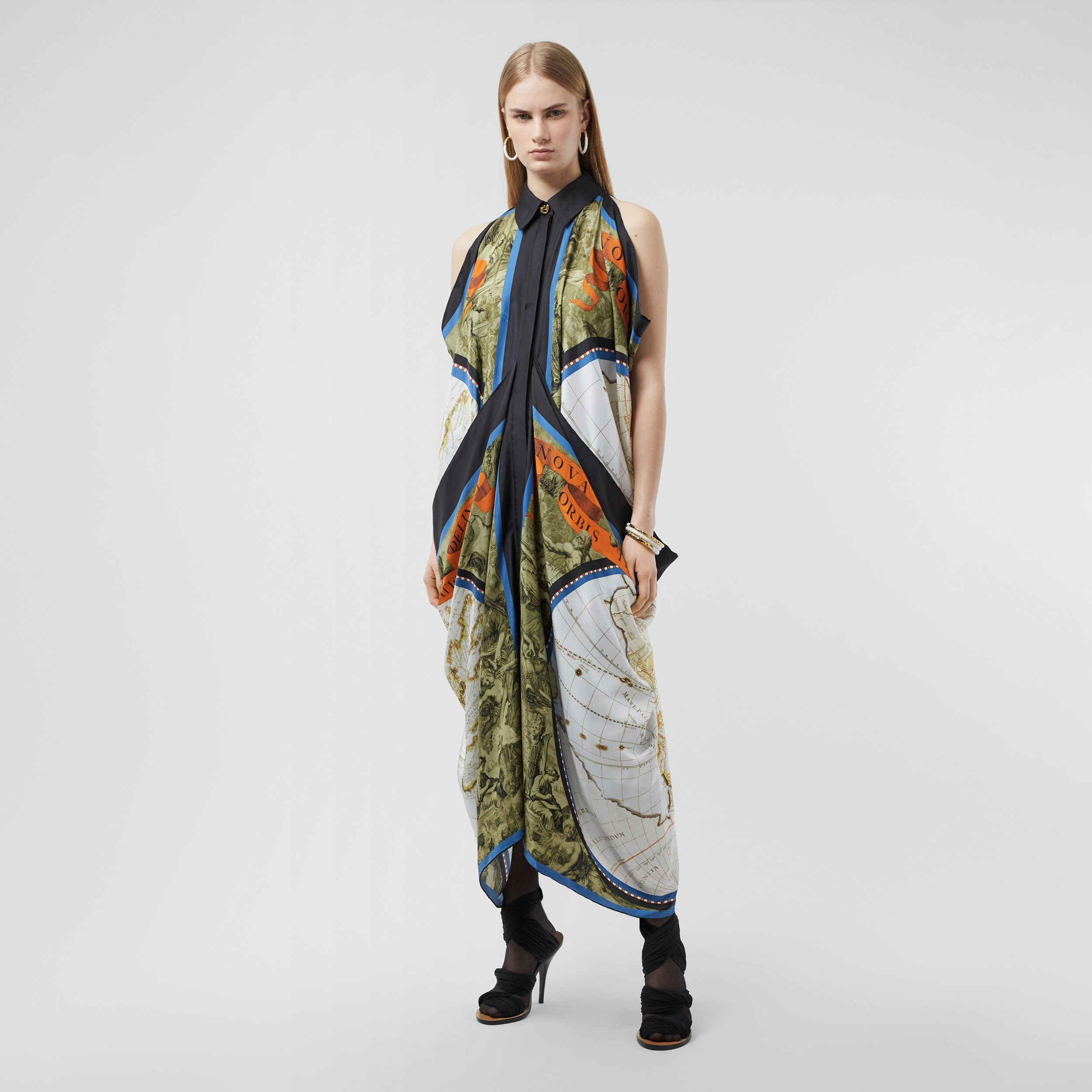 Map Print Draped Silk Dress in Antique Green - Women | Burberry - 1