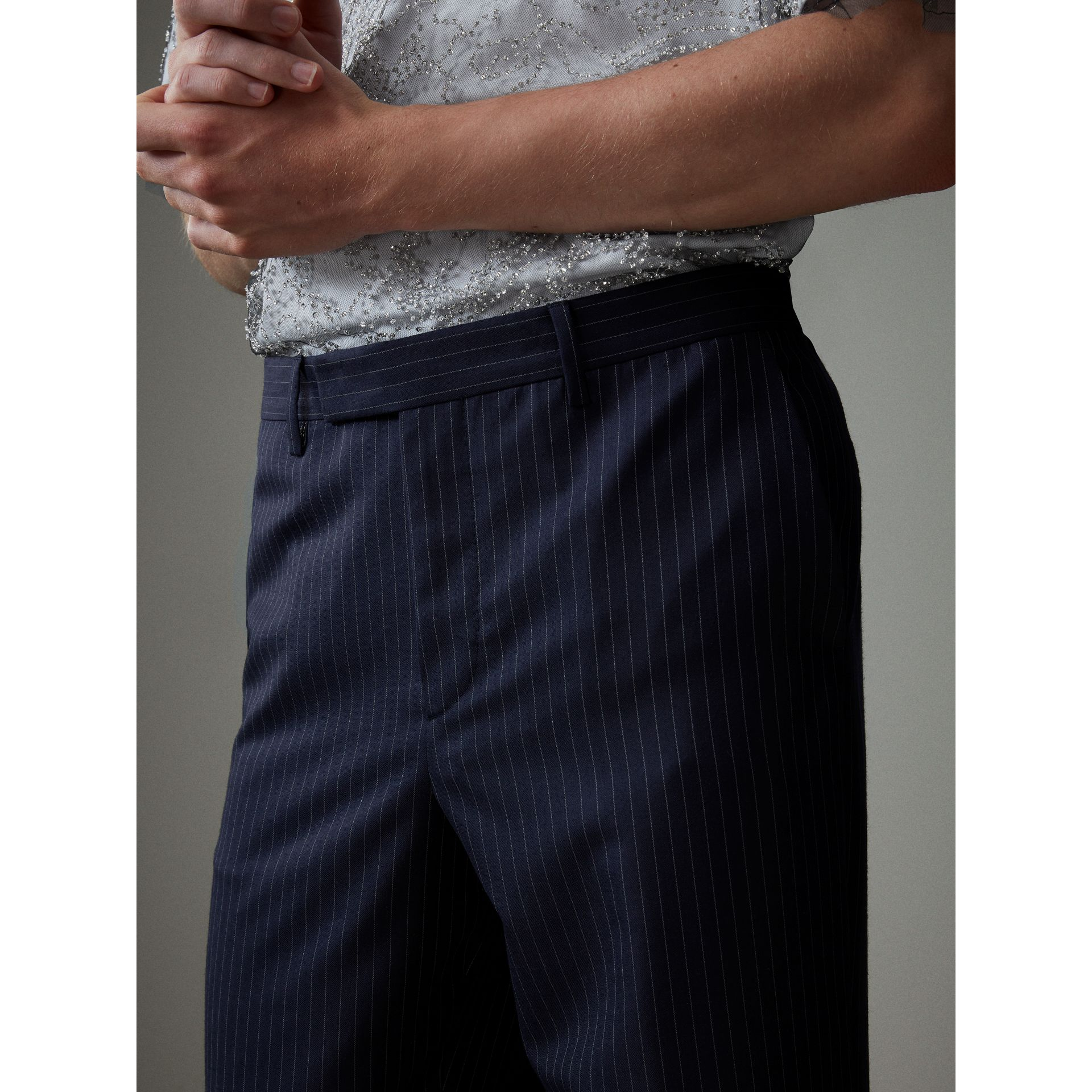 English Pinstripe Wool Wide-leg Trousers in Navy/white - Men | Burberry United States - gallery image 1