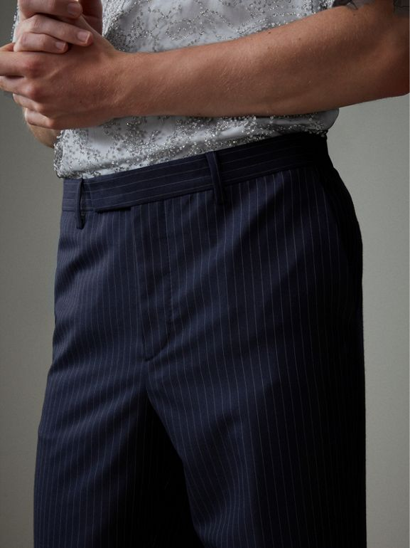 English Pinstripe Wool Wide-leg Trousers in Navy/white - Men | Burberry United Kingdom - cell image 1