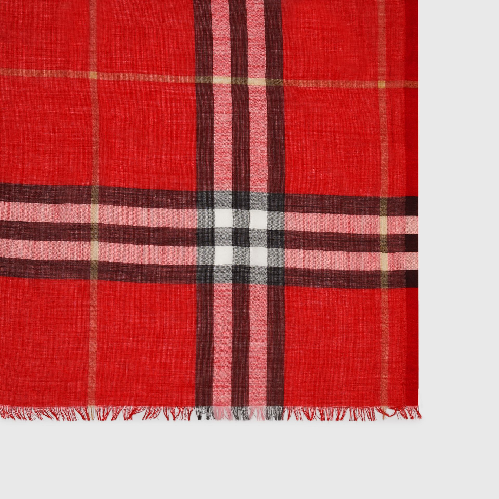 Lightweight Check Wool and Silk Scarf in Bright Military Red | Burberry Hong Kong - gallery image 1