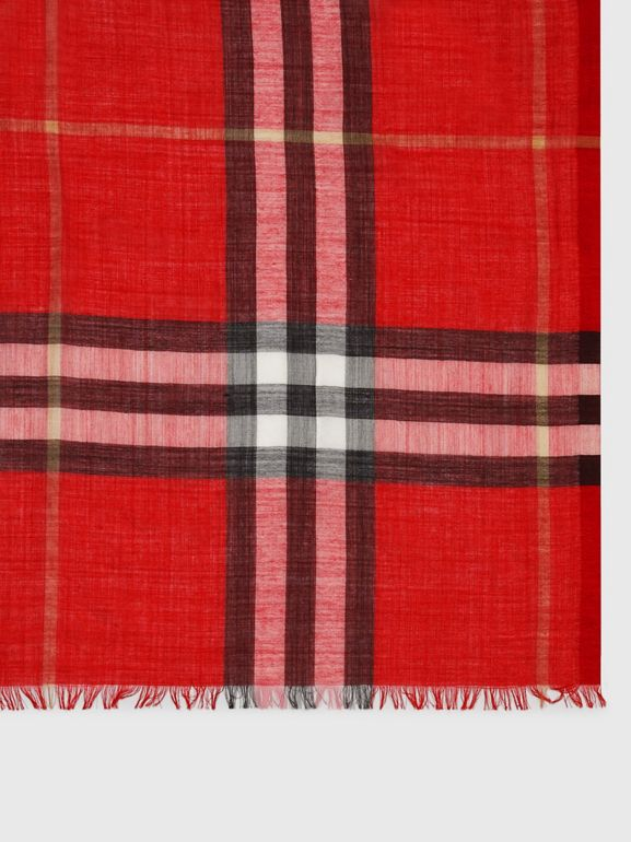 Lightweight Check Wool Silk Scarf in Parade Red | Burberry - cell image 1