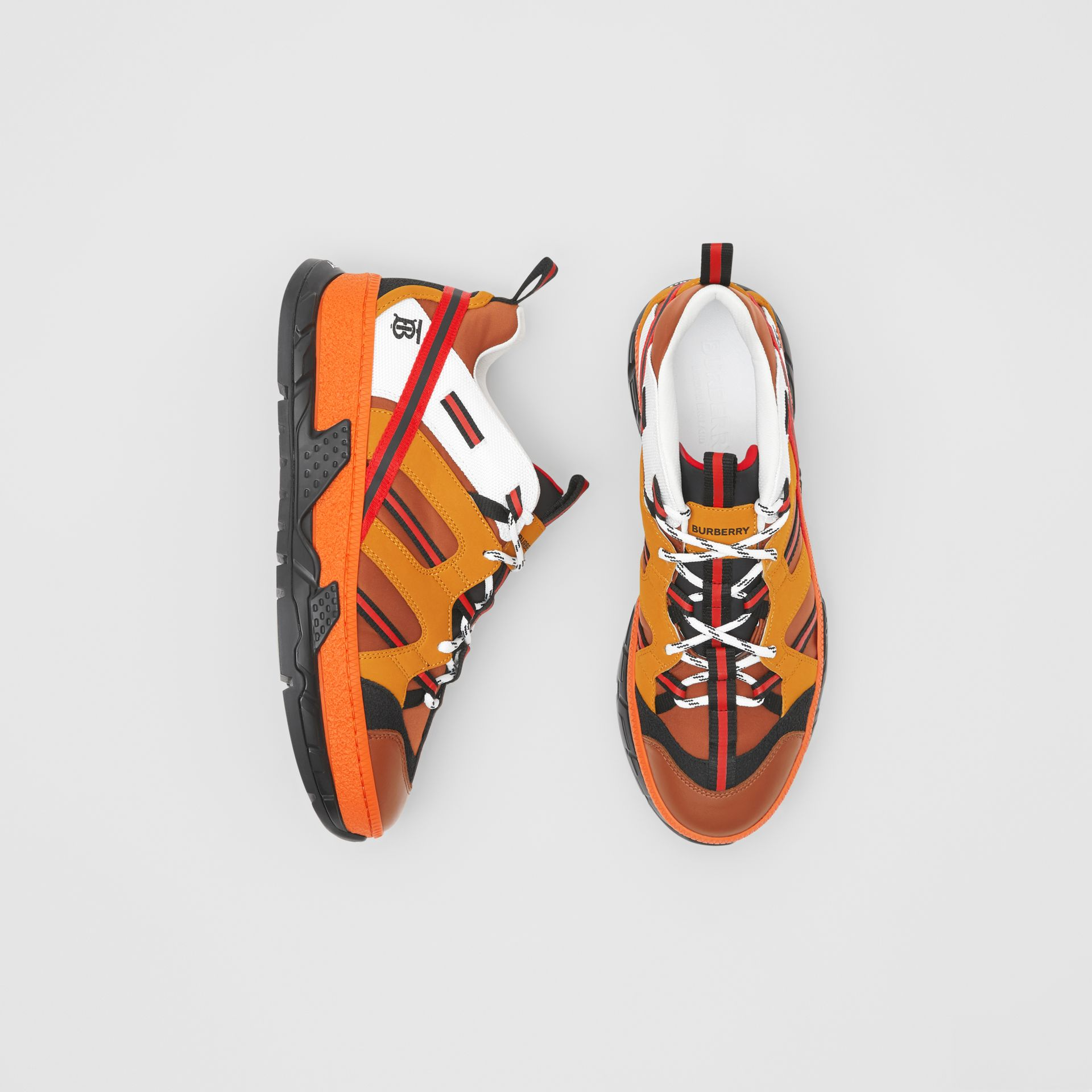 Nylon and Nubuck Union Sneakers in Orange - Men | Burberry United States - gallery image 0