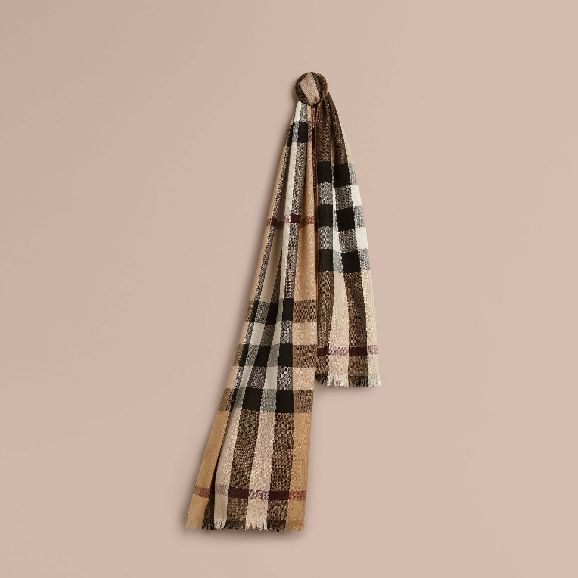 Camel Lightweight Check Wool Cashmere Scarf Camel - gallery image 1