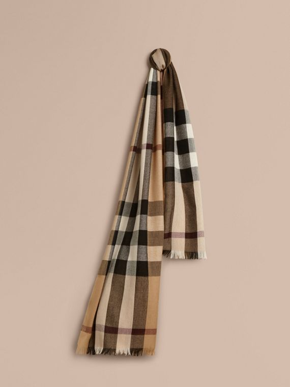 Lightweight Check Wool Cashmere Scarf Camel