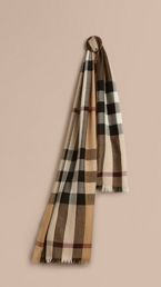 Lightweight Check Wool Cashmere Scarf