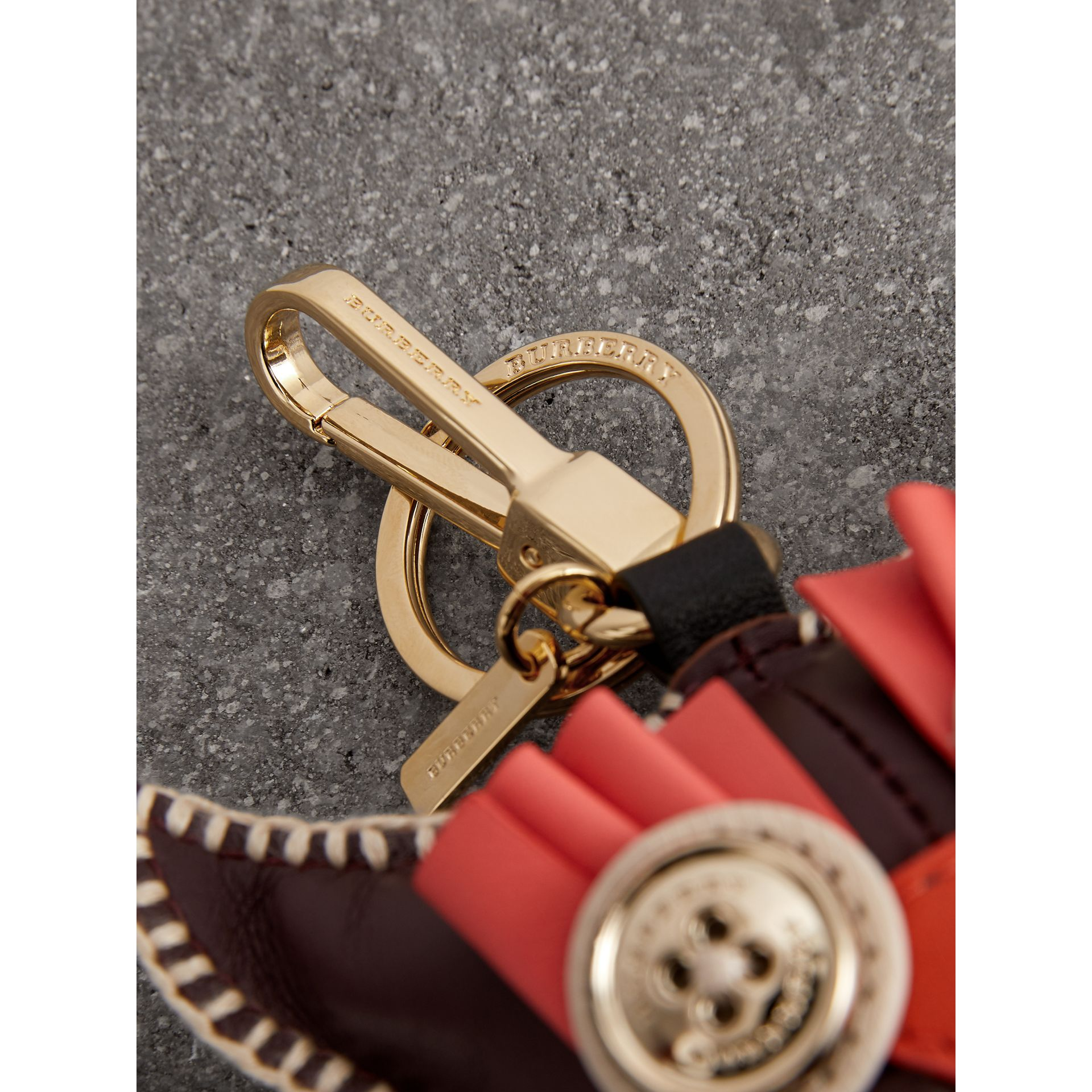 Mavis The Owl Leather Charm in Deep Claret - Women | Burberry - gallery image 1